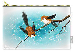 Carry-all Pouch featuring the digital art Brown Swallows In Winter by John Wills