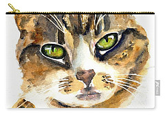 Brown Tabby Cat Watercolor Carry-all Pouch