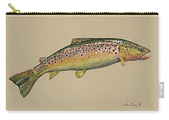 Brown Trout Jumping Carry-all Pouch by Juan Bosco