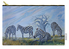 Carry-all Pouch featuring the painting Browsing Zebras by Anthony Mwangi
