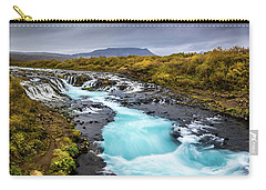Carry-all Pouch featuring the photograph Bruarfoss In The Gloom by Rikk Flohr
