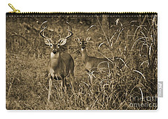 Buck And Doe In Sepia Carry-all Pouch