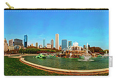 Carry-all Pouch featuring the photograph Buckingham Fountain Chicago Grant Park by Tom Jelen