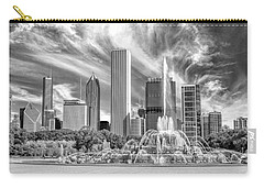 Buckingham Fountain Skyscrapers Black And White Carry-all Pouch