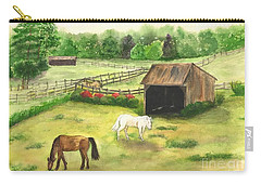 Carry-all Pouch featuring the painting Bucks County Horse Farm by Lucia Grilletto