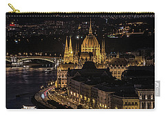 Budapest View At Night Carry-all Pouch by Jaroslaw Blaminsky