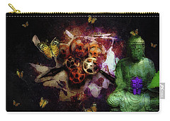 Carry-all Pouch featuring the photograph Buddha And Butterflies by John Stuart Webbstock