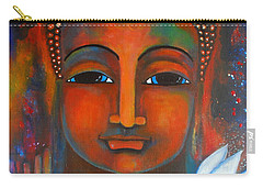 Buddha With A White Lotus In Earthy Tones Carry-all Pouch