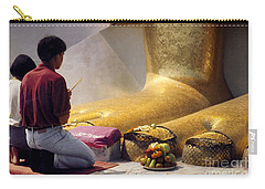 Carry-all Pouch featuring the photograph Buddhist Thai People Praying by Heiko Koehrer-Wagner
