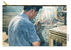 Carry-all Pouch featuring the photograph Buddhist Way Of Praying by Heiko Koehrer-Wagner
