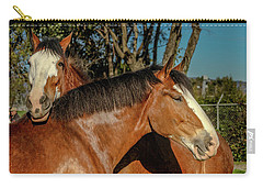 Carry-all Pouch featuring the photograph Budweiser Clydesdales  by Bill Gallagher