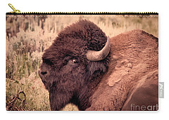 Carry-all Pouch featuring the photograph Buffalo Eye On You by Janice Rae Pariza