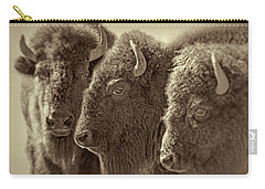 Carry-all Pouch featuring the photograph Trio American Bison Sepia Brown by Jennie Marie Schell