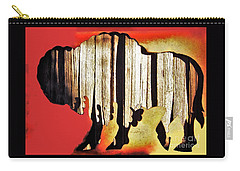 Carry-all Pouch featuring the photograph  Wooden Buffalo 3 by Larry Campbell