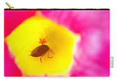Carry-all Pouch featuring the photograph Bug In Pink And Yellow Flower  by Ben and Raisa Gertsberg