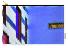 Carry-all Pouch featuring the digital art Building Block - Blue by Wendy Wilton