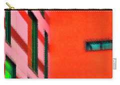 Carry-all Pouch featuring the digital art Building Block - Red by Wendy Wilton