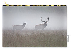 Bull And Cow Elk In Fog - September 30 2016 Carry-all Pouch