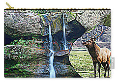 Bull Elk By A Waterfall Carry-all Pouch