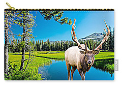 Bull Elk By The Lake Carry-all Pouch