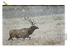 Bull Elk With Snow Carry-all Pouch