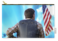 Carry-all Pouch featuring the photograph Bull Rider by Brian Wallace