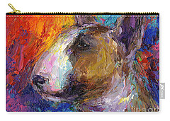 Bull Terrier Dog Painting Carry-all Pouch