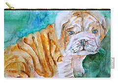 Carry-all Pouch featuring the painting Bulldog Cub  - Watercolor Portrait by Fabrizio Cassetta