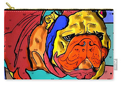 Carry-all Pouch featuring the digital art Bulldog Popart By Nico Bielow by Nico Bielow