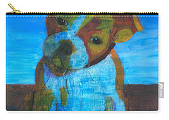 Carry-all Pouch featuring the painting Bulldog Puppy by Donald J Ryker III