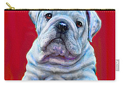 Carry-all Pouch featuring the digital art Bulldog Puppy On Red by Jane Schnetlage