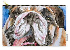 Carry-all Pouch featuring the painting Bulldog - Watercolor Portrait.3 by Fabrizio Cassetta