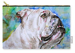Carry-all Pouch featuring the painting Bulldog - Watercolor Portrait.4 by Fabrizio Cassetta