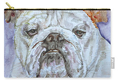Carry-all Pouch featuring the painting Bulldog - Watercolor Portrait.5 by Fabrizio Cassetta