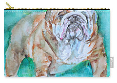Carry-all Pouch featuring the painting Bulldog - Watercolor Portrait.6 by Fabrizio Cassetta