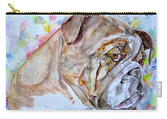 Carry-all Pouch featuring the painting Bulldog - Watercolor Portrait.7 by Fabrizio Cassetta