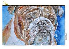 Carry-all Pouch featuring the painting Bulldog - Watercolor Portrait.8 by Fabrizio Cassetta