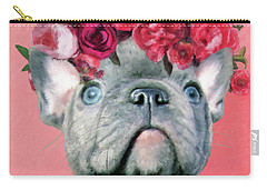 Bulldog With Flowers Carry-all Pouch