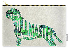 Carry-all Pouch featuring the painting Bullmastiff Watercolor Painting / Typographic Art by Ayse and Deniz