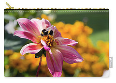 Bumblebee On Orange Carry-all Pouch by Helga Novelli