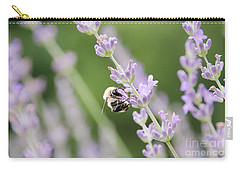 Carry-all Pouch featuring the photograph Bumblebee On The Lavender Field 2 by Andrea Anderegg