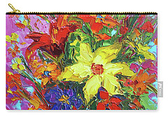 Carry-all Pouch featuring the painting Colorful Wildflowers, Abstract Floral Art by Patricia Awapara