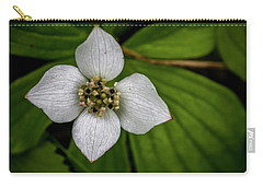 Carry-all Pouch featuring the photograph Bunchberry Dogwood On Gloomy Day by Darcy Michaelchuk