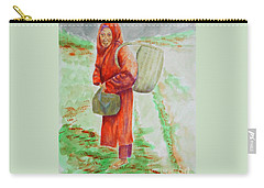 Bundled And Barefoot -- Portrait Of Old Asian Woman Outdoors Carry-all Pouch