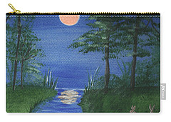 Carry-all Pouch featuring the painting Bunnies In The Garden At Midnight by Denise Fulmer