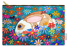 Bunny And Flowers Carry-all Pouch by Nick Gustafson