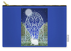 Carry-all Pouch featuring the mixed media Bunny, Gate And Moon by Lise Winne