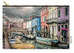 Burano In The Rain Carry-all Pouch by Brian Tarr