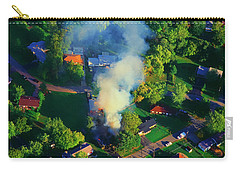 Carry-all Pouch featuring the photograph Burnin Down The House Aerial Single Family Home On Fire  by Tom Jelen
