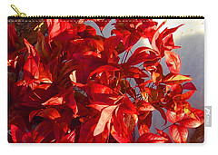 Carry-all Pouch featuring the photograph Burning Bush In Snow Enchantment by Anastasia Savage Ealy